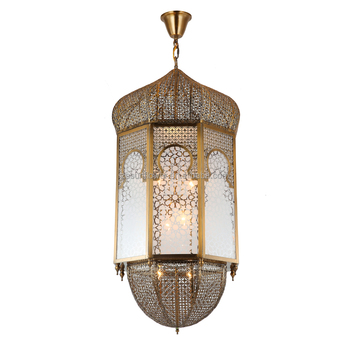Moroccan Hanging Light Decoration Wrought Iron Handmade Large Pendant Lighting Muslim Arabic Lights