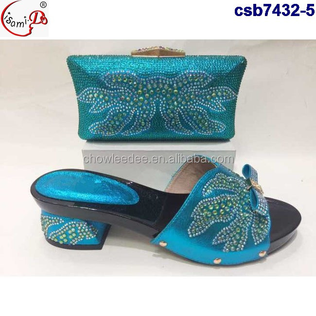 Italian shoes and bag sets csb7432-4 african wedding shoes and bag set with stones