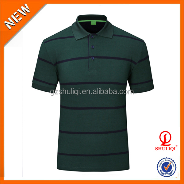 Latest style breathable short sleeve polo shirts/Custom wholesale casual stripe 100 polyester polo shirts wholesale