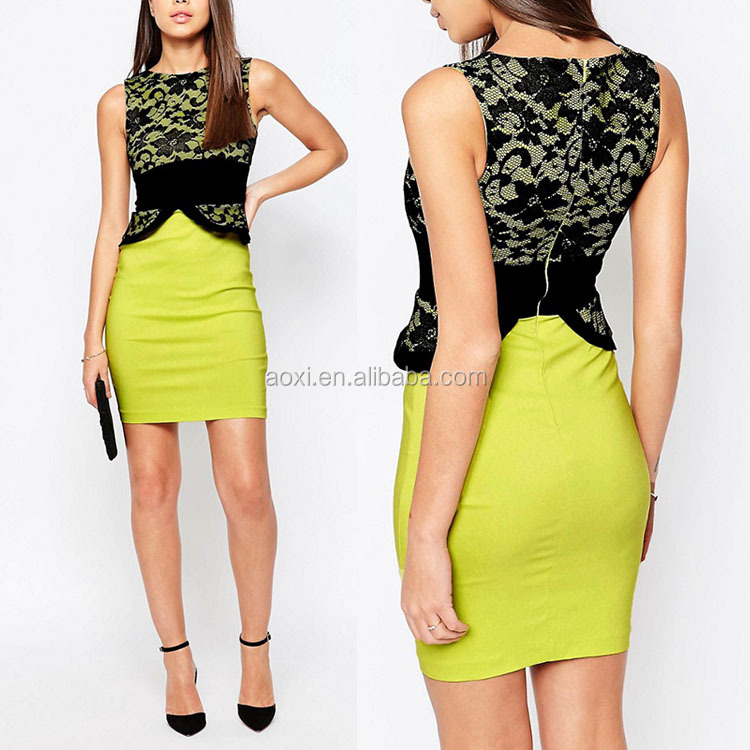 New arrival sleeveless lace top pictures latest fashion office dress for ladies