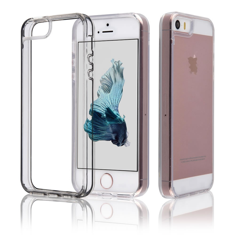 C&T Clear Bumper TPU Scratch Resistant Hard PC Back Cover Case for Apple iPhone 5 5S SE