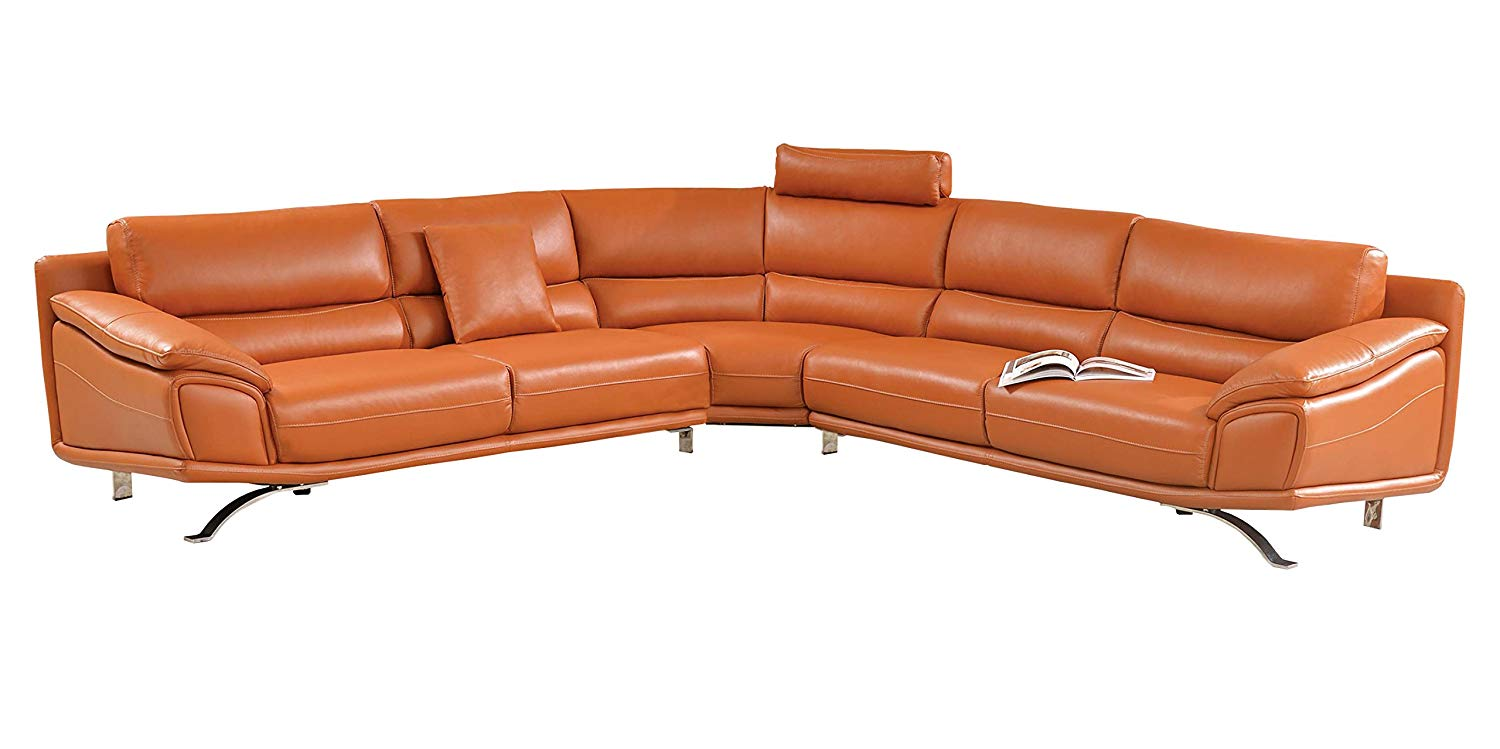 Modern Sectional Sofa in Orange Italian Leather with Headrest and Contemproary Design by Soflex