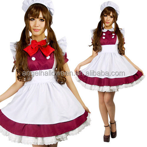 Lolita Japanese School Girl Maid Costume Anime Halloween Cosplay Red Uniform RED Costume AGC4191