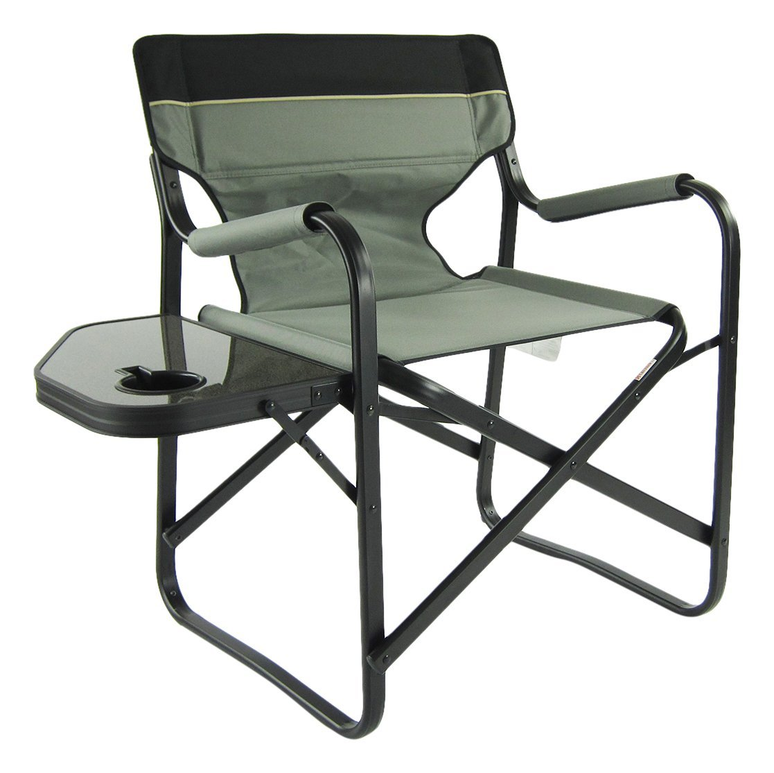 Onway Outdoor Furniture Aluminum Portable Folding Deck Chair with Side Table, Gray
