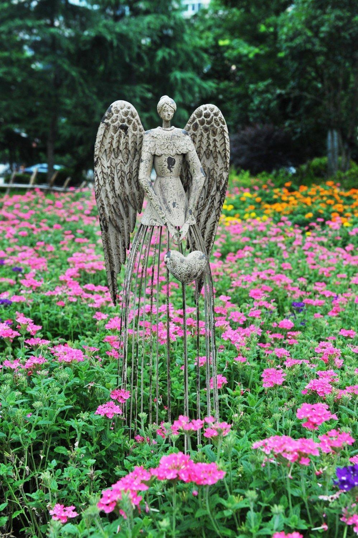"""Y&K Decor Antiqued Metal Garden Angel Statues Indoor Outdoor Yard Lawn Statue Decor, 32"""" Height"""