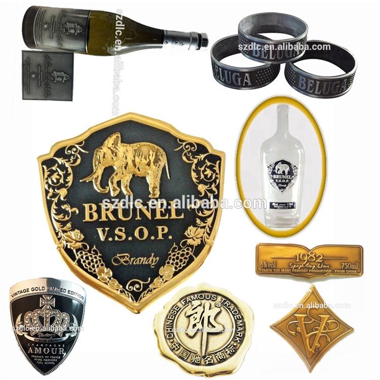 Garrafa de Vinho personalizado Etiqueta autocolante Rótulo de Vinho De Metal Em Relevo Vermelho