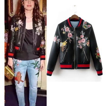 d22f65ce0 Z91880a Women Bomber Jacket 2016 Women's Retro Flowers Embroidered  Jacket,Flight Zipper Casual Baseball Pu Jacket - Buy Jacket Women,Custom  Bomber ...