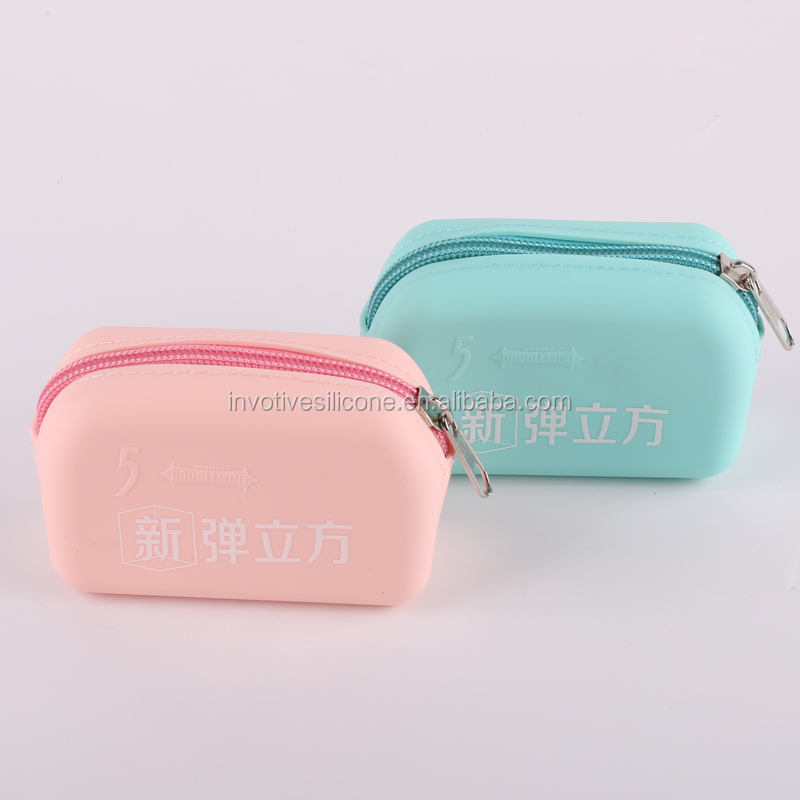 Sedex Factory Food grade cute designs silicone jelly rainbow purse for kids