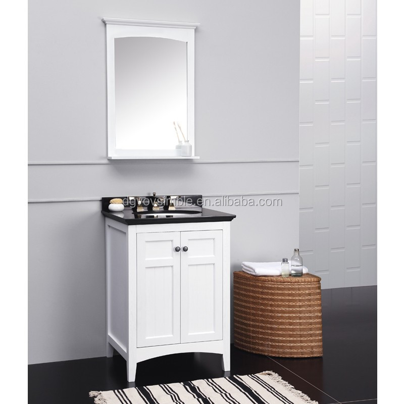 White laquered waterproof solid wood vanity floor standing for Floor standing mirrored bathroom cabinet