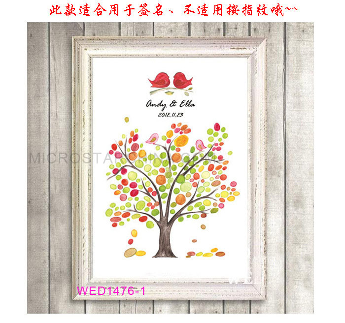 Unique Wedding Guest Book Fingerprint Love Birds Tree Painting