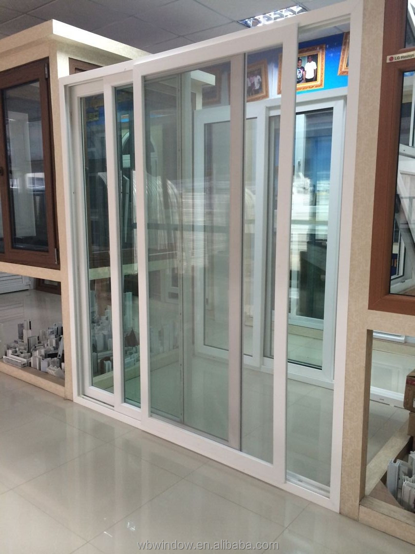 Indian style upvc 3 track upvc sliding glass door with for Mesh for windows and doors