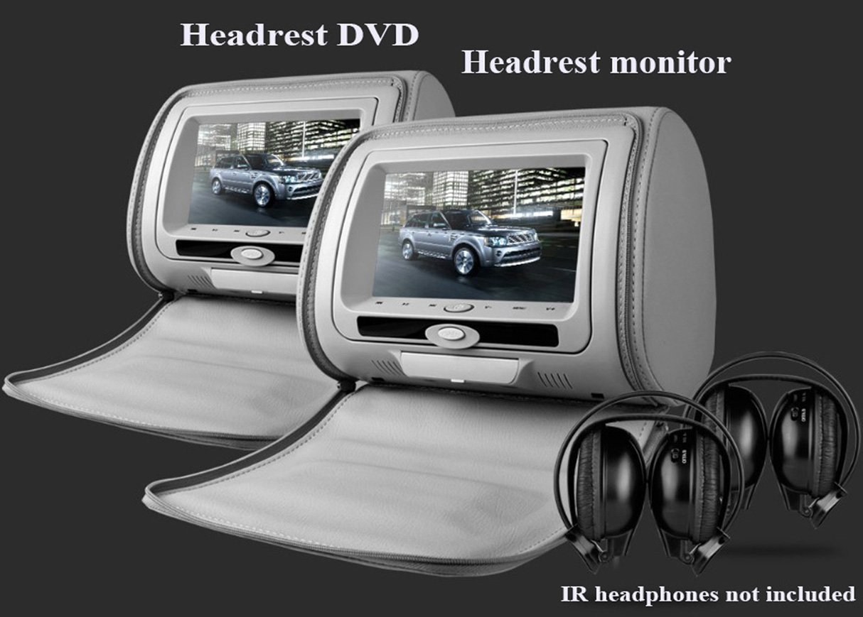 "one pair 7""inch car headrest DVD player,1PC DVD player + 1PC monitor,with zipper cover,USB/SD,32 bit Game,IR,FM"