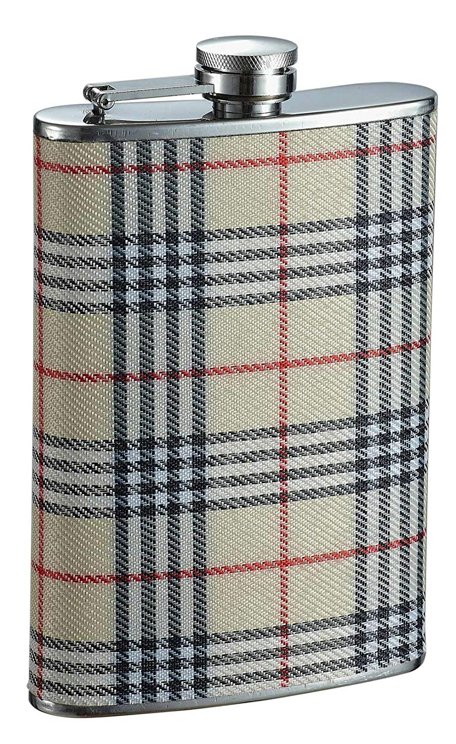 """Visol """"Hank"""" Plaid Wrapped Stainless Steel Hip Flask, 8-Ounce, Chrome"""