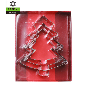 Christmas tree 3pc stainless steel cookie mould set