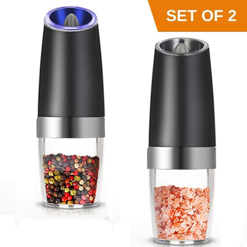 Favson Electric Salt and Pepper Grinder Set of 2,Battery Powered Pepper Mill and Salt Mill, Adjustable Grind Coarseness Pepper Grinders with Blue LED Light, Automatic Salt and Pepper Shakers