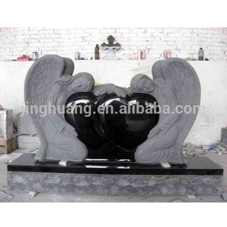 Cheap Granite Headstones Heart And Angel Monument Beautiful Black Tombstone for Sale