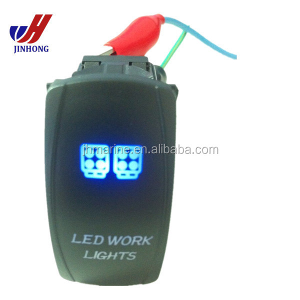 Labeled Marine Contura II Rocker Switch Carling lighted Light-Blue lens