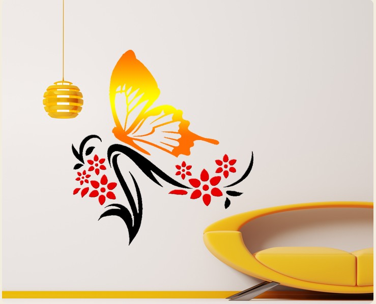 Free shipping DIY creative wall stickers butterfly flower minimalist bedroom bedside background wall living room decoration