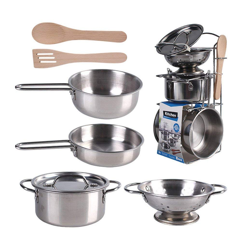 Kids Stainless Steel Kitchen Simulation Pots Pans Food Gift Toy Set