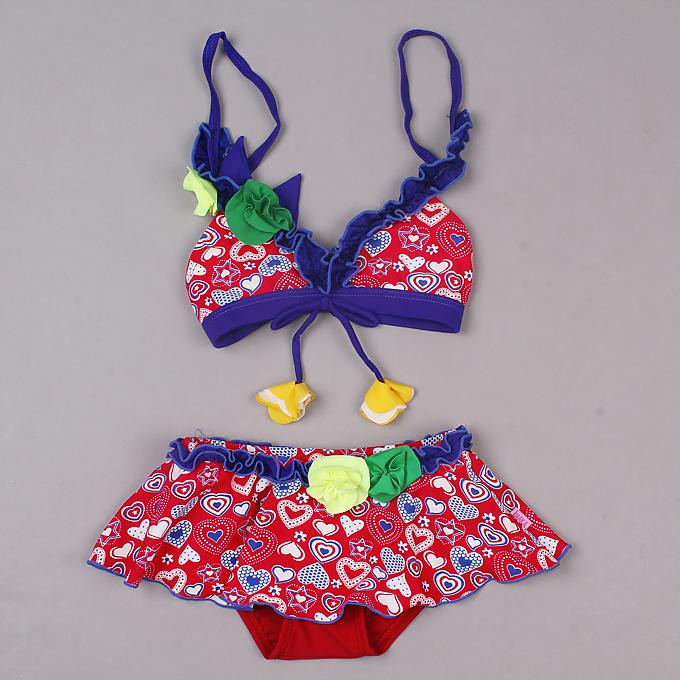 2016 Summer New Arrival Children Swimwear For Girls Colorful Polyester And Lycra Heart Printed Bathing Suits Girls SR40417-1
