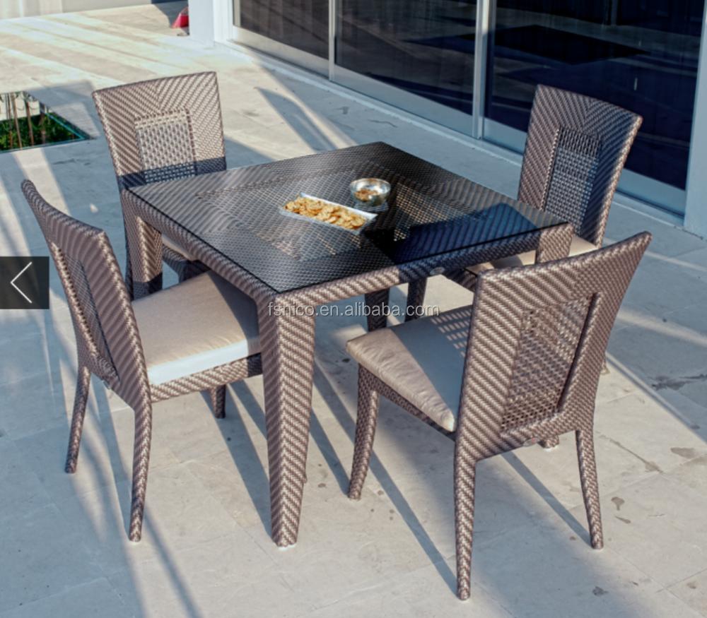 Wicker outdoor furniture dining set buatan plastik lembar