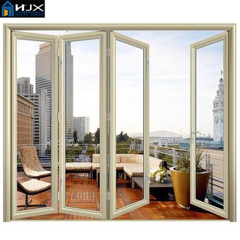 Aluminum Frame Tempered Glass Bifold Folding Door Used Exterior ...