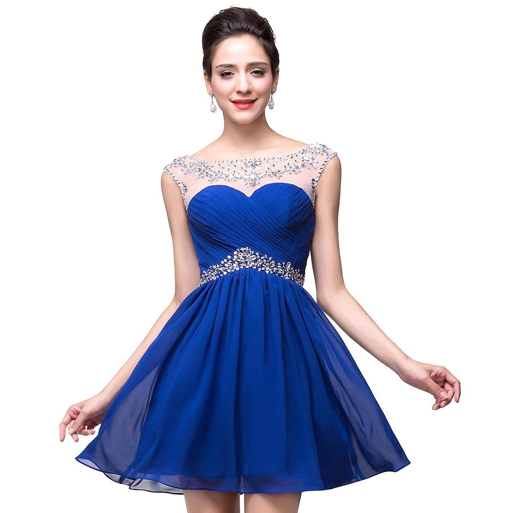 Buy 100 Real Picture Royal Blue Homecoming Dresses Chiffon Short