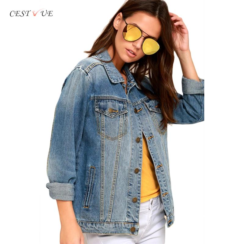 2018 Latest Design Wholesale Custom Casual Button Down Blue Bomber Denim Women Jacket Long Sleeves Winter Spring Jacket Ladies