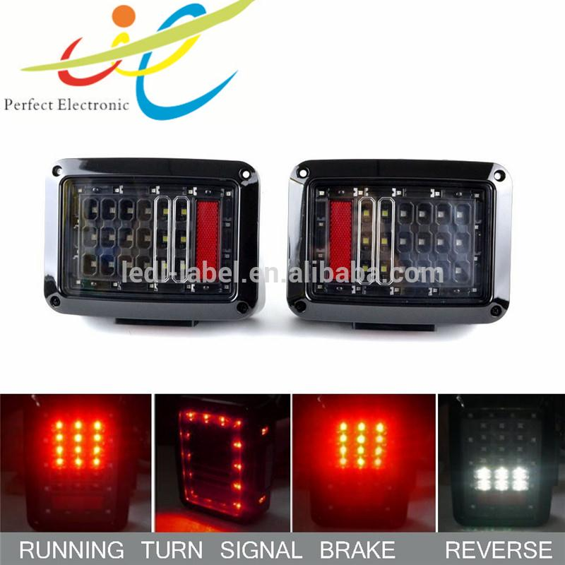 Smoke Lens Jeep Wrangler 07-15 JK LED Brake Tail Lights Bulb Assembly Conversion Rear Turn Singal Reverse Lights