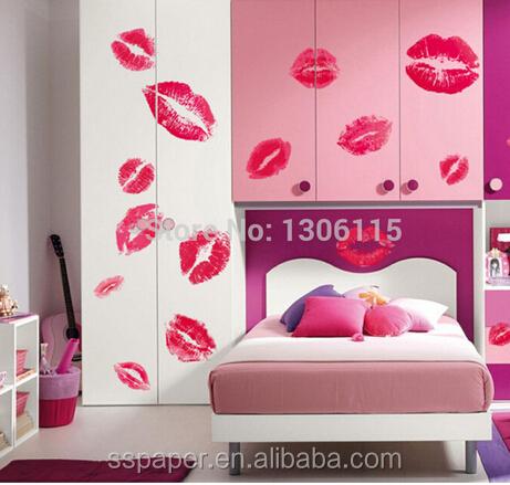 2016 hot 50*70 cm bacio bordo vermilion rimovibile wall stickers ...