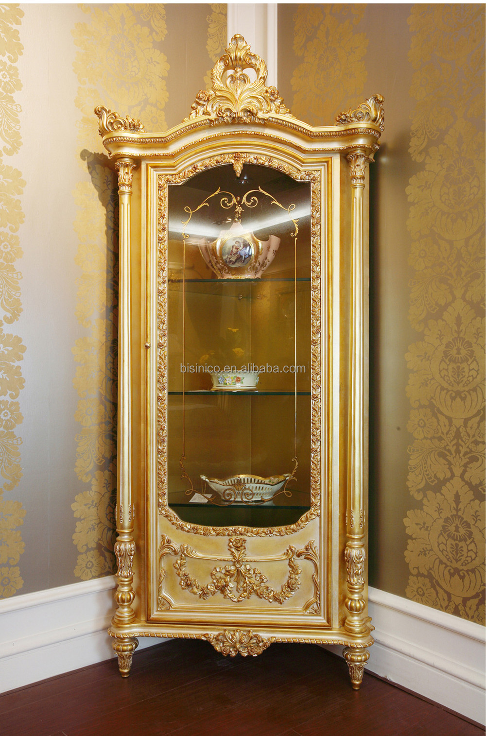 Luxury French Louis XV 24K Gold Leaf Display Corner Cabinet/ European Vintage Palace Wooden Decorative Wine Corner Cabinet