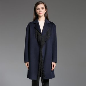 c2a42374a2861f Designed for an oversize fit Fringe-Trimme Coat with Notched shawl collar