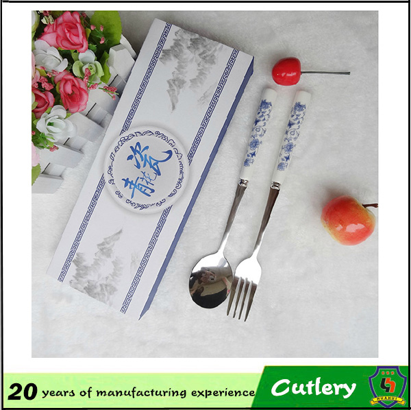NO MOQ,5% OFFmetal case custom logo Blue and white stainless cheap flatware s wholesale for promotion&wholesale(HH-spoon-171)