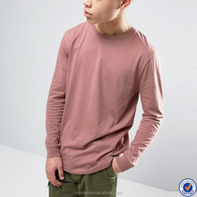 create your own brand long sleeve blank 100 cotton t shirt in pink
