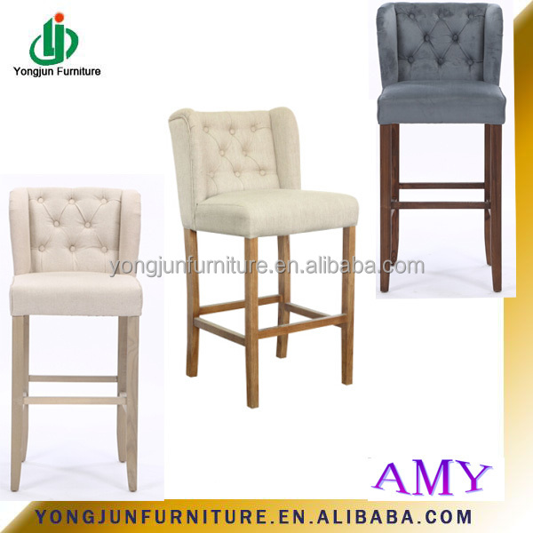 Captivating French Style Solid Wood Design Wooden Bar Stool Bar Furniture,High Quality  Antique White Fabric