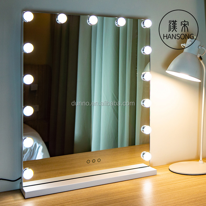 Hotel Bathroom Mirror  Vanity With LED Lights Wall Mounted Makeup Mirror