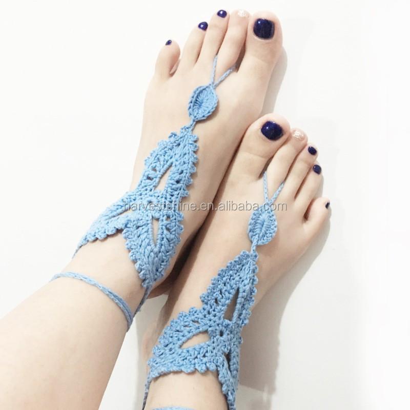 Punto Trenzado Flor Sandalias Descalzas Para Adultos,Crochet Beach ...