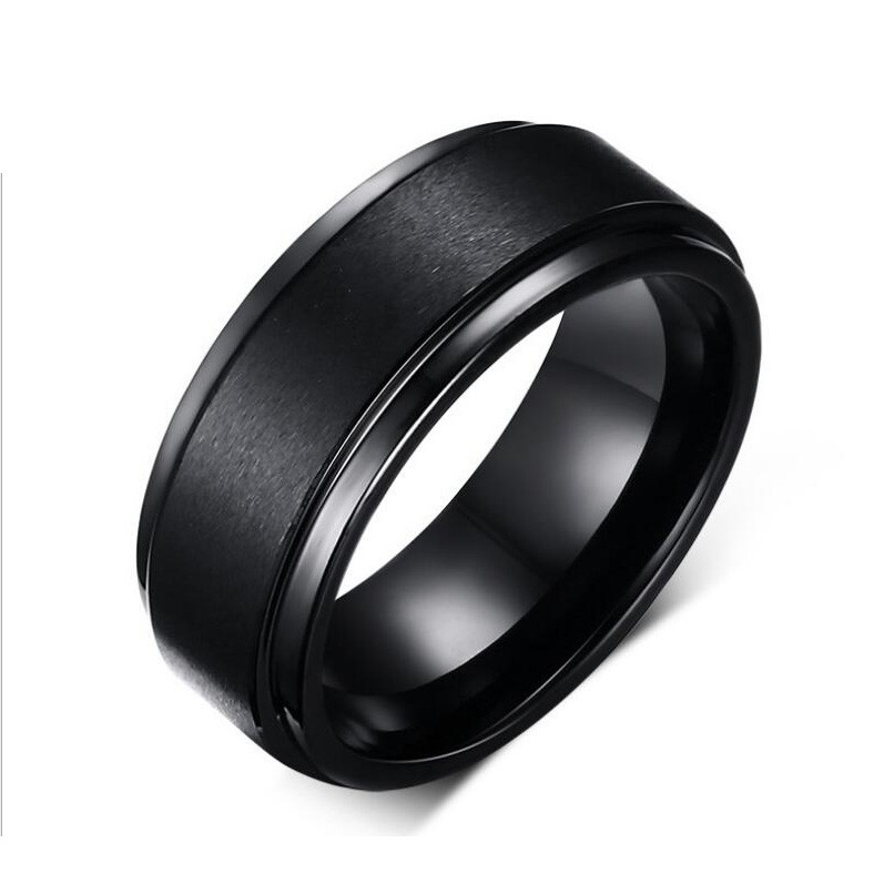 8mm wide fashion black men tungsten wedding rings wholesale jewelry decent tungsten carbide rings - Tungsten Mens Wedding Ring