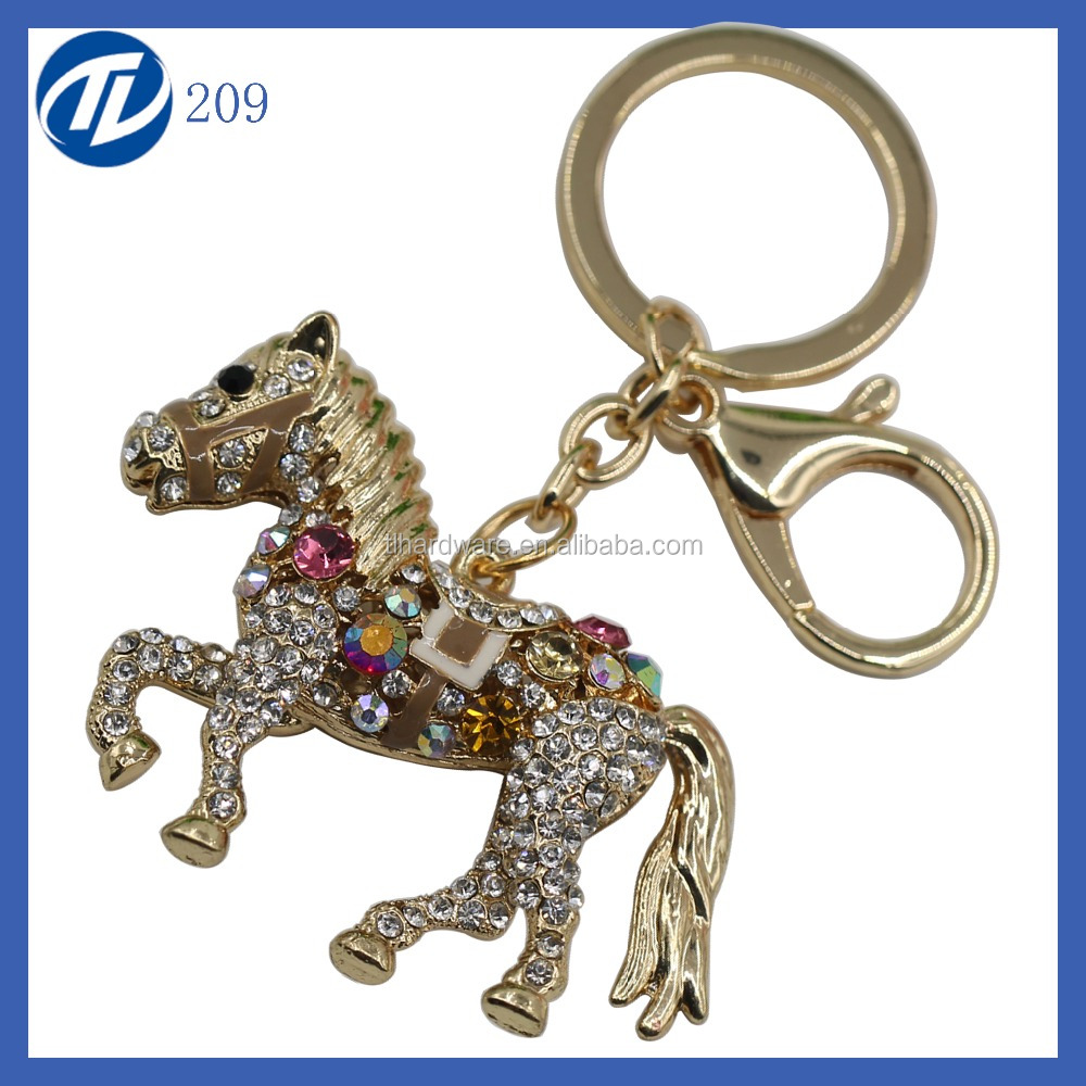 Wholesale custom crystal horse shape rhinestone keychain