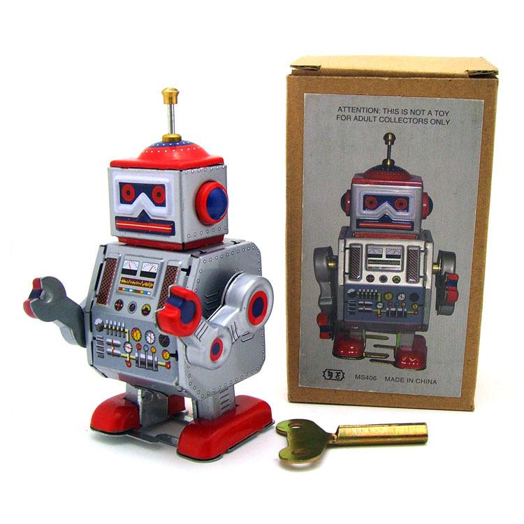 vintage tin toys wind up robot tin retro toys