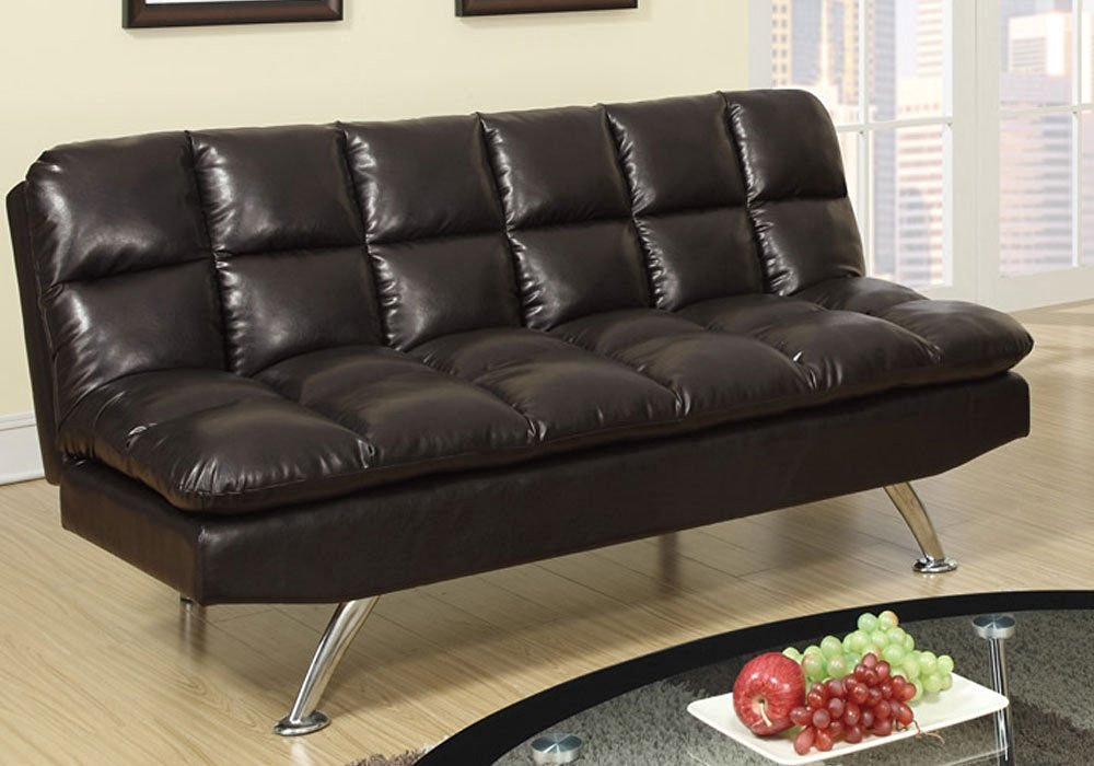 1PerfectChoice Modern Living Adjustable Sofa Futon Bed Sleeper Sleepover  Espresso Faux Leather