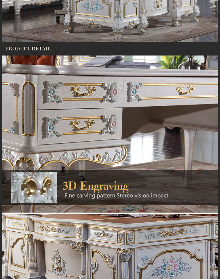 luxury office furniture – baroque hand carving royalty study room set