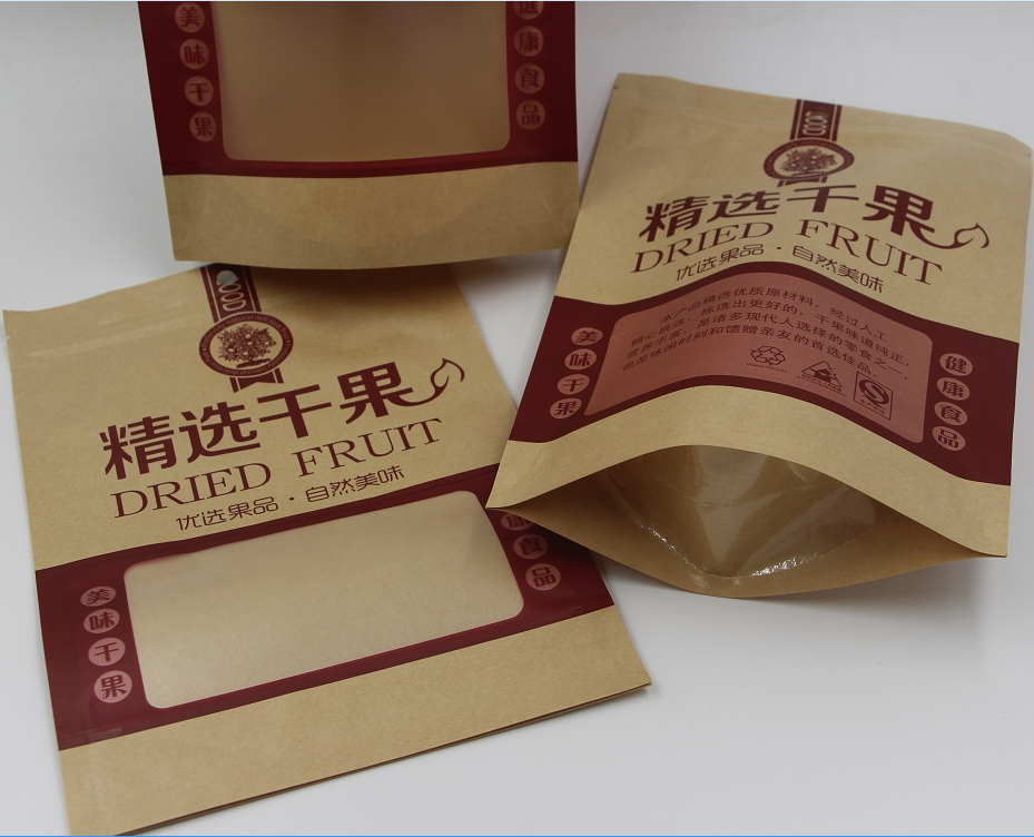Hot Sell Flat Kraft Paper Bag for Dried Fruit, Nuts, Casual Food and Nacks Packaging
