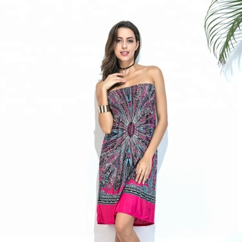 Hot Sale Batik Damask African Designs Beach Short Tube Dress