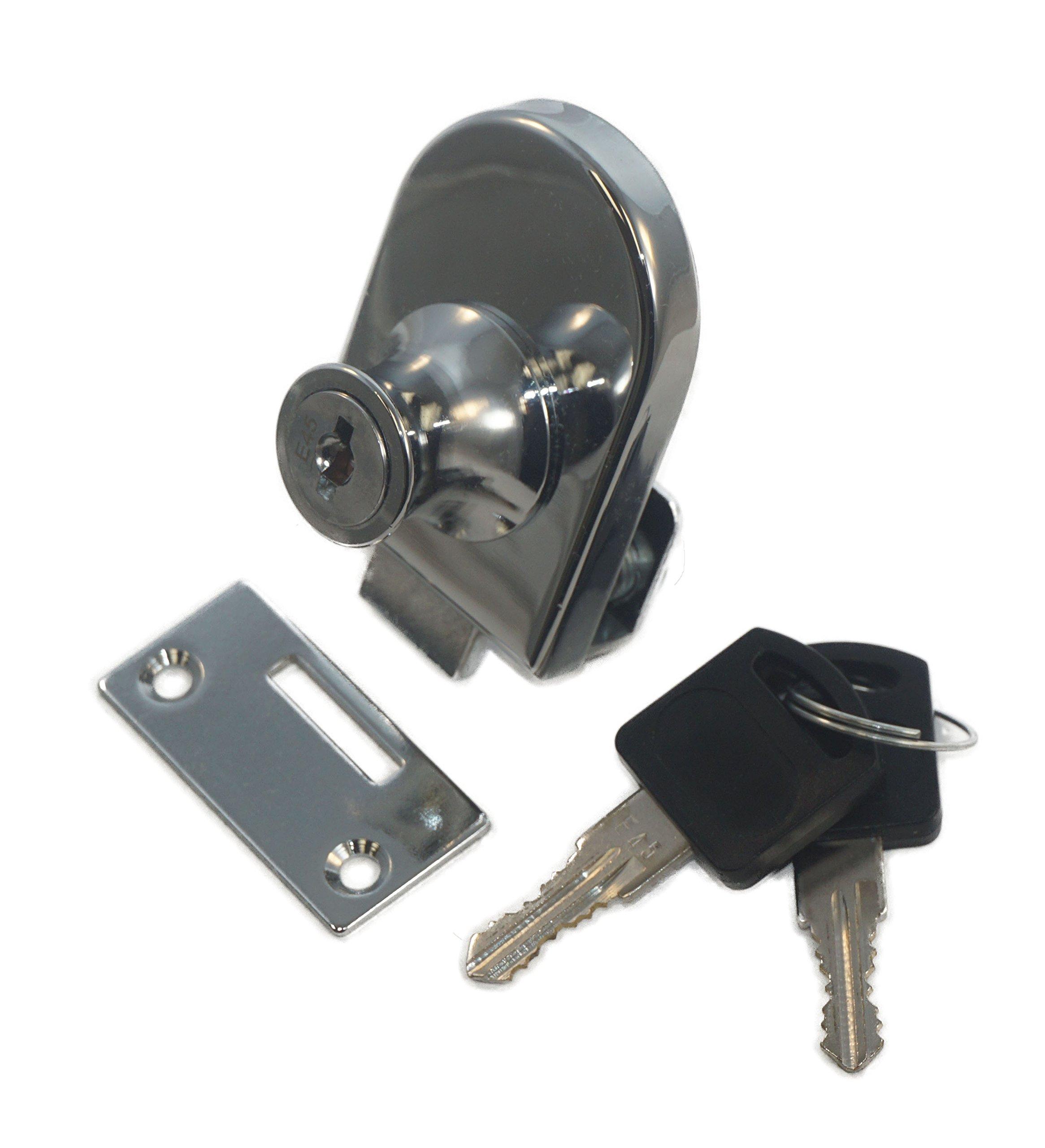 Single Glass Door Lock with Chrome Finish, Keyed Alike