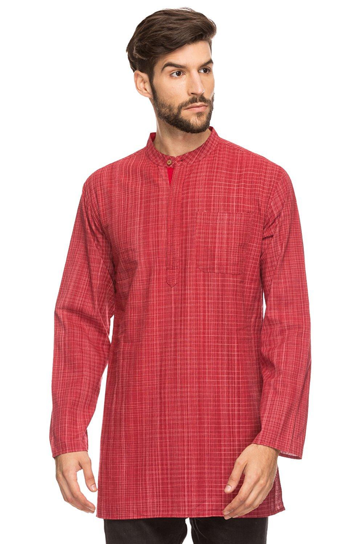 b884345b583 Shatranj Men's Indian Mandarin Collar Mid-length Tunic Kurta Space-Dye  Checks
