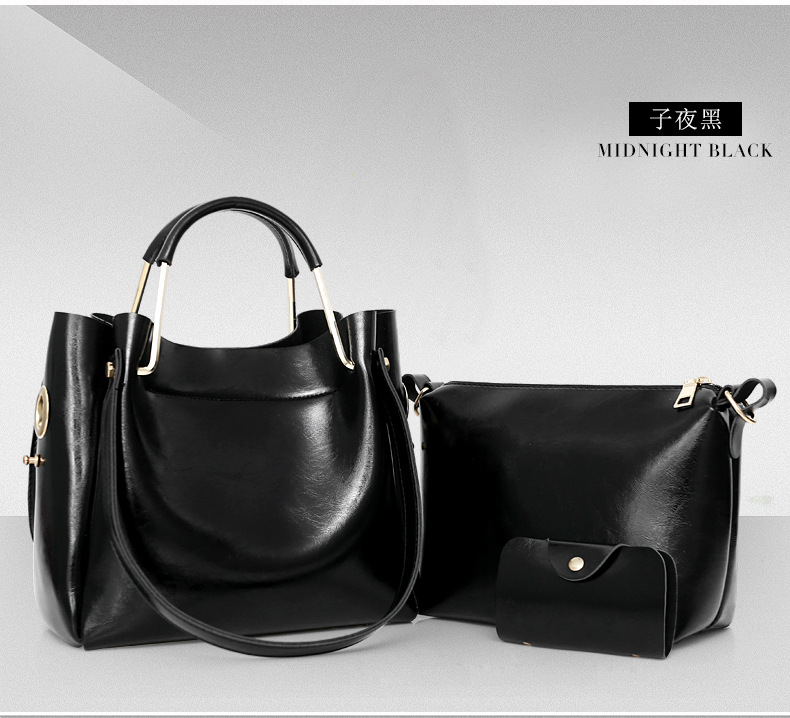 YLB052 Metal handle Paraffin PU leather Retro handbags sets for women 2018