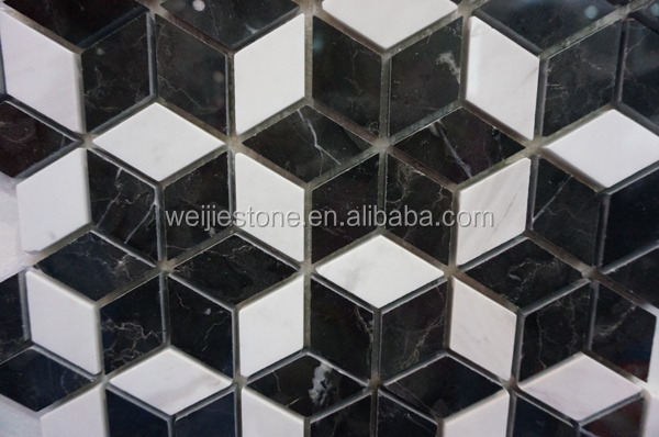 Bathroom Floor Tiles Weight : Diamond shaped black and white marble flower mosaic floor