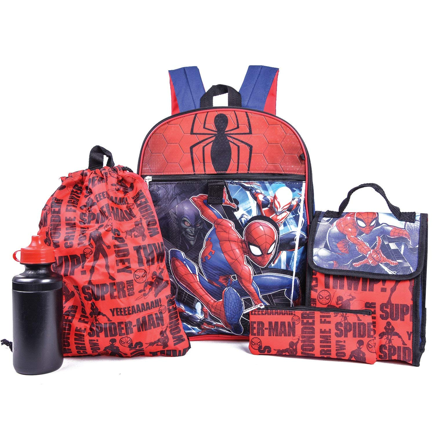 Get Quotations · Marvel Spiderman Backpack Combo Set - Marvels Spiderman 5  Piece Backpack School Set (Red  227088dd5763f