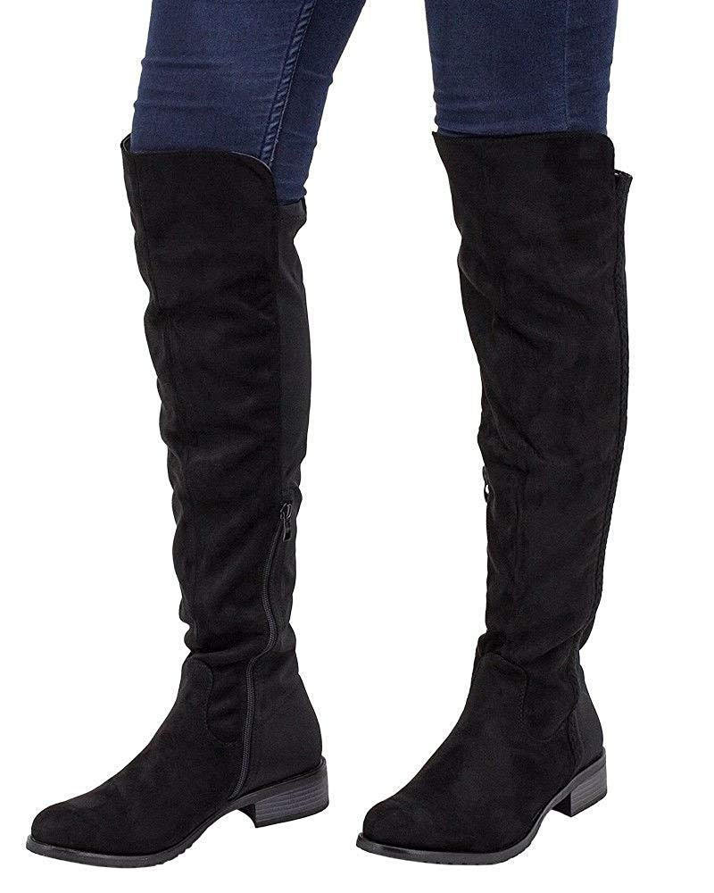 622b2ace75b70 Get Quotations · Flirty Wardrobe Womens Thigh High Faux Suede Shoe Over The Knee  Boots Stretched Flat Heels Zipup